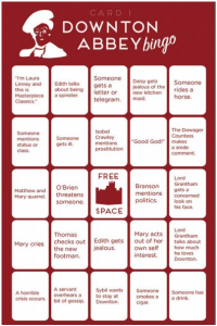 Click to download Downton Abbey Bingo! Card