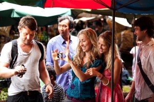 "Joel Edgerton (left) stars as ""Dave Flannery"", Felicity Price (center/left) stars as ""Alice Flannery"", Teresa Palmer (center/right) stars as ""Steph McKinney"" and Anthony Starr (right) stars as ""Jeremy King"" in the upcoming release of Entertainment One's WISH YOU WERE HERE."
