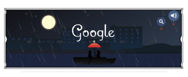 Horse drawn coach through a moonlit city #googledoodle