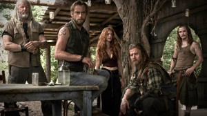 "(L-R) David Morse as Big Foster, Joe Anderson as Asa, Gillian Alexy as G'Winveer, Ryan Hurst as Lil Foster and Kyle Gallner as Hasil in WGN America's ""Outsiders."" (PRNewsFoto/WGN America)"